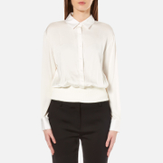 DKNY Womens Button Through Pullover with Ribbed Hem  Gesso  M