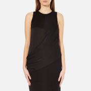 DKNY Womens Sleeveless Mixed Media Wrap Front Dress with Side Slits  Black  S