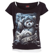 Spiral Women's Ted The Grim 2-in-1 Ripped Top - Black/White