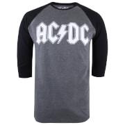 ACDC Mens Logo Raglan Logo 34 TShirt  Grey MarlBlack  XL