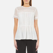 MICHAEL MICHAEL KORS Women's Eyelet Mix Short Sleeve Top - White