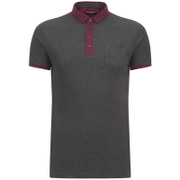 Brave Soul Men's Mozi Jersey Polo Shirt - Charcoal Marl/Wine