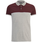 Brave Soul Men's Lorenzo Panel Polo Shirt - Light Grey/Burgundy