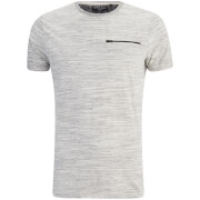Brave Soul Men's Gustav Zip Pocket T-Shirt - Ecru/Light Grey
