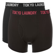 Tokyo Laundry Men's Pellipar 2 Pack Boxers - Black/Tomato Puree/Light Grey Marl