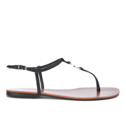 Lauren Ralph Lauren Women's Aimon T-Bar Croc Flat Sandals - Black