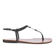 Lauren Ralph Lauren Women's Aimon T-Bar Croc Flat Sandals - Black