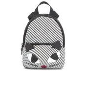 Lulu Guinness Women's Stripe Kooky Cat Small Backpack - Black White