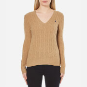 Polo Ralph Lauren Womens Kimberley Jumper Cashmere Blend  Dark Beige Heat  L
