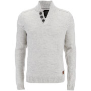 Threadbare Men's Tanner Button Neck Jumper - Winter White