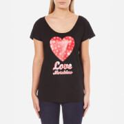 Love Moschino Womens Heart Logo TShirt  Black  EU 44UK 12