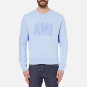 AMI Men's Flock Logo Crew Sweatshirt - Sky Blue