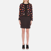 Boutique Moschino Women's Heart Print Cropped Jacket - Black