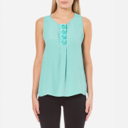 Boutique Moschino Women's Flower Detail Sleeveless Blouse - Blue