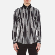 Versace Collection Men's All Over Printed Shirt with Contrast Collar - Black