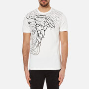 Versace Collection Men's Half Medusa Head and Branded Printed T-Shirt - White