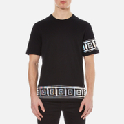 Versace Collection Men's Greek Patterned Embossed T-Shirt - Black