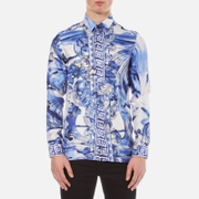 Versace Collection Men's Printed Silk Shirt - Blue