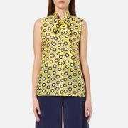 Boutique Moschino Womens Sleeveless Tie Neck Blouse  Yellow  EU 38UK 6