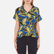 Boutique Moschino Women's V-Neck Printed Blouse with Collar - Multi - EU 38/UK 6 - Multi