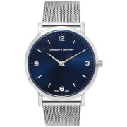 Larsson & Jennings Lugano 38mm Silver Stainless Steel Chain Metal Watch - Silver/Navy/Silver