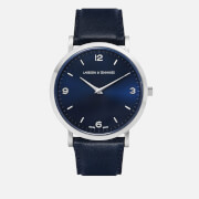 Larsson & Jennings Lugano 38mm Leather Watch - Silver/Navy/Navy