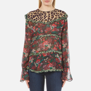 Maison Scotch Women's Mixed Print Top with Ruffle Details - Multi