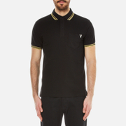Versace Jeans Men's Small Logo Polo Shirt with Back Print - Black