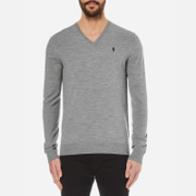 Polo Ralph Lauren Men's V-Neck Cotton Knitted Jumper - Fawn Grey Heather