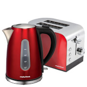 Morphy Richards AMREOLTP Accents Pyramid Kettle and Toaster Bundle - Red