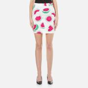 Love Moschino Womens All Over Heart Watermelon Print Skirt with Logo  WhiteWatermelon  EU 44