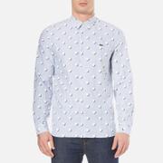 Lacoste L!Ve Mens Large Polka Dot Long Sleeve Shirt  Admiral BlueWhiteWhite  L