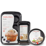 Morphy Richards 6 Cup Muffin Tray, Loaf Pan and 20cm Springform Cake Tray - Graphite