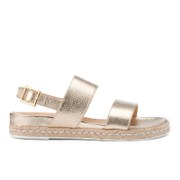 Dune Women's Lacrosse Leather Sling Back Espadrille Sandals - Gold