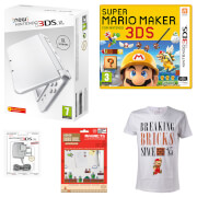 New Nintendo 3DS XL Pearl + Super Mario Maker for Nintendo 3DS Pack