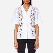 Alexander Wang Women's Boxy Hawaiian Shirt with Tattoo Embroidery - Bleach - L - White