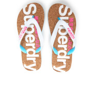 Superdry Women's Cork Colour Pop Flip Flops - Optic White/Fluro Pink