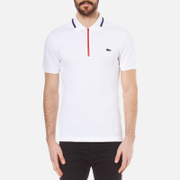 Lacoste Mens Made in France Zip Polo Shirt  WhiteShipRed  3S