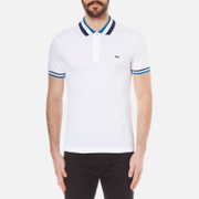 Lacoste Mens Collar Detail Polo Shirt  WhiteSapphire Blue  3S
