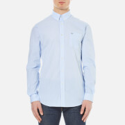 Lacoste Men's Striped Oxford Long Sleeve Shirt - Nattier Blue 07E/White