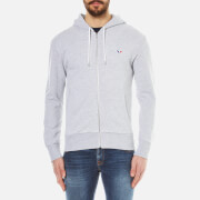 Maison Kitsuné Men's Tricolour Fox Patch Hoody - Light Grey Melange