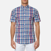Tommy Hilfiger Men's Lester Check Short Sleeve Shirt - Blue/Apple Red
