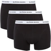 Bjorn Borg Men's Three Pack Solid Boxer Shorts with Contrast Colour Waistband - Black - L