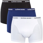 Bjorn Borg Men's Three Pack Solid Boxer Shorts - Blue Depth - S