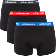 Bjorn Borg Men's Three Pack Solid Boxer Shorts with Contrast White Waistband - Black