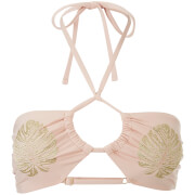 MINKPINK Women's Golden Hour Ruched Halter Bikini Top - Nude/Gold