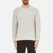 Folk Men's Crew Neck Knitted Jumper - Silver/Grey