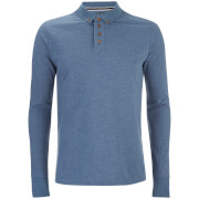 Brave Soul Men's Lincoln Long Sleeve Polo Shirt - Light Vintage Blue Marl
