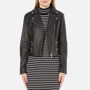 MICHAEL MICHAEL KORS Women's Four Pocket Leather Biker Jacket - Black
