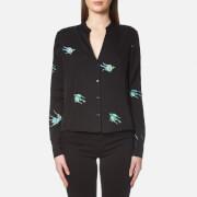 Diane von Furstenberg Women's Long Sleeve V Neck Shirt - Ceres Black